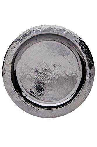 Orientalisches rundes Tablett aus Messing versilbert Paris | Marokkanisches Teetablett in