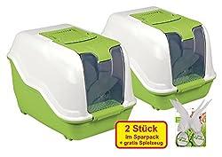 2er Sparpack XXL Katzentoilette NETTA MAXI weiss-grün mit gratis Federbällen
