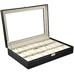 Yahee Uhrenbox Uhrenkoffer Uhrenkasten Uhrenschatulle für 24 Uhren