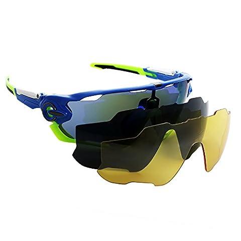 polarisées Lunettes de sport avec 3lentilles de couleur (Revo, Jaune, gris) Eyewear Lunettes conçu pour la pêche Ski Conduite randonnée Golf Course Cyclisme Camping Sports et activités de plein air, Blue-green
