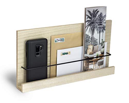 Wandregal aus Holz und Metall Wandboard Schweberegal Magazinhalter Hängeregal Natur