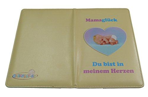 Mutterpasshülle Deutschland aus Kunststoff-Leder mit Motiv/Cover Baby im Herz. Hülle / Etui / Tasche / Mappe / Umschlag / Schutzhülle NUR für den DEUTSCHEN MUTTERPASS und das Ultraschallbild. Passend für Mädchen und Junge in rosa-lila, türkis-blau bzw. bunt auf creme-natur-beige Hintergrund. (Lila Windel-taschen Mädchen)
