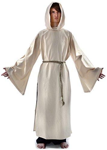 Mönchskutte Mittelalter Kleidung Kutte Mönchsrobe schwarz M mit Schnur Beige