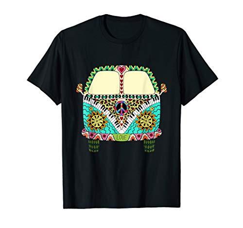 Hippie Kostüm - Peace Love Flower Power Camper Van T-Shirt