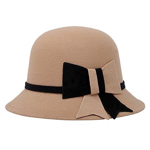 Sitong femme r¨¦tro hiver bow imitation laine chapeau Beige