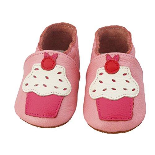VASHCAME-WeichesLeder Lauflernschuhe Krabbelschuhe Babyschuhe Schlüpfen Atmungsaktiv Junge Mädchen Cupcake Größe XL:18-24 Monate