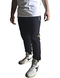 Stone Island Pantalone Moda Uomo in Cotone Logo a Vista Tasche con Zip a Scomparsa