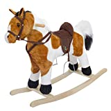 Baybee Unicorn Horse Wooden Plush Rocking Horse with Realistic Sounds | Safely Holds Children ( Gold)