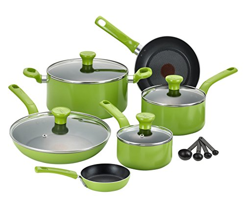 T-Fal 14-Piece Excite Non-Stick Cookware Set, Green by T-fal C912SE74
