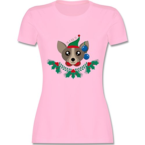 Weihnachten & Silvester - Chihuahua Weihnachts-Elfe - tailliertes Premium T-Shirt mit Rundhalsausschnitt für Damen Rosa