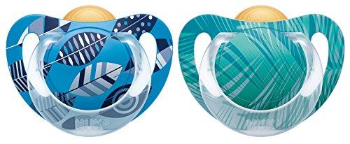 NUK 10173061 - Ciuccio Genius in latex, con tettarella ortodontica, senza BPA, da 18 a 36 mesi, misura 3, colore: blu/grigio