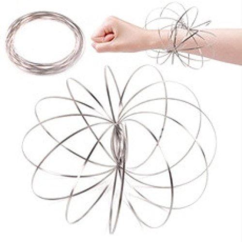 Vovotrade Flow Rings Magic Ring spel Kinetic IPS spiraal armspinner Fidget roestvrij Staal vaardigheid speelgoed Spinner speelgoed Ringen Magic voor kinderen 3D Flow Ring (Silber, 11cm)