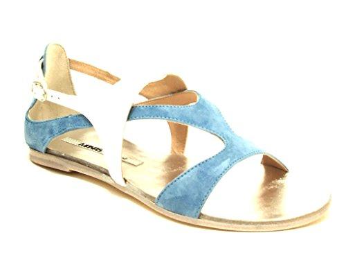 Manas Lea Foscati sandalo donna tacco basso in camoscio e vernice colore jeans bianco nr 41