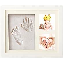 Marco Fotos Blanco Regalos Bebé Marco Huellas Kit Recién Nacidos Huella Bebe Recuerdos Huellas Arcilla (3 rejillas, blanco)
