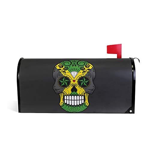 HEOEH Bandiera Giamaicana Sugar Skull Roses Magnetic Mailbox Cover casa Giardino Decorazioni di Grandi Dimensioni 64,8x 52,8cm 64.7x52.8cm