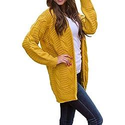 FNKDOR Tricots Manteau à Manches Longues pour Femmes Automne Hiver Décontractés Chaud Front Ouvert Cardigan Pull Manteau Blouson(Jaune,FR(Buste)-40/CN-L)