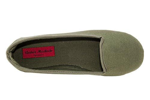 AM5048 - Andres Machado - Ballerinas mit runder Schuhspitze Stoff - Made in Spain Stoff Grün