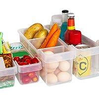 Kurelle 2 Pack Kühlschrank Lagerung Box Gefrierschrank Speisekammer Stapelbar Lebensmittel Aufbewahrungsbehälter für Gemüse Obst Milch, Durchsichtig Vorratsdosen Organizer 40cmx12cmx16cm (Large)