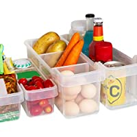 Kurelle 2 Pack Refrigerador contenedor Congelador despensa refrescos cocina almacenamiento Heladera Organizadora para Guardar Vegetales Frutas,Transparente 40cmx12cmx16cm (Grande)
