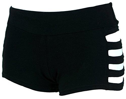 Guru-Shop Goa Pantys, Psytrance Hotpants, Shorts, Damen, Schwarz, Baumwolle, Size:36, Shorts, 3/4 Hosen, Leggings Alternative Bekleidung