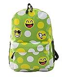 Minetom Lona Backpack Mochilas Escolares Mochila Escolar Casual Bolsa Viaje Moda Expresión Facial Emoji Mujer Verde One Size(29*14*42 Cm)