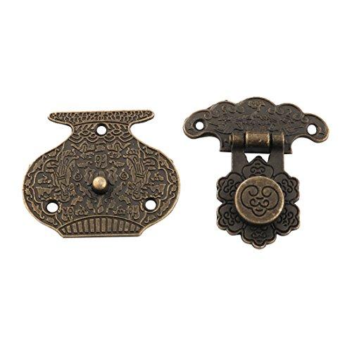 Dekorative Möbelknöpfe (sourcingmap® Metall Retro Stil dekorativ Schmuck Holz Box Hasp Latch Lock Gürtelschnalle)