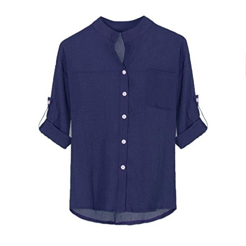 MERICAL Women Stand Collar Solid Long Sleeve Shirt Casual Blouse Button Down Tops