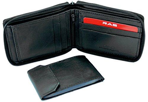 Portafogli da uomo in vera pelle morbida, con cerniera e custodie per documenti e carte di credito, con portamonete dotato di cerniera