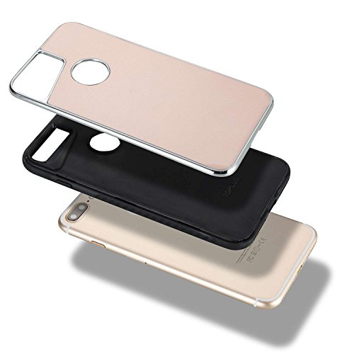 EKINHUI Case Cover Abnehmbarer Dual-Layer-Shockproof-Rückseiten-Gehäuse Flexibler TPU-Innenschutz und verstärkter PC-Abdeckungs-Fall für iPhone 7 Plus ( Color : Rosegold ) Rosegold