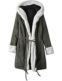 4f6157660e832a bauycy Damen Frauen Kapuzenjacke aus Baumwolle Flauschige Jacke  langärmeliger Kunstpelz Winterjacke Parker Mantel Fischschwanzjacke mit  Kapuze