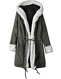 dfe81bade702 bauycy Damen Frauen Kapuzenjacke aus Baumwolle Flauschige Jacke  langärmeliger Kunstpelz Winterjacke Parker Mantel Fischschwanzjacke mit  Kapuze