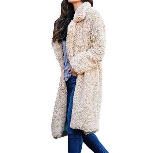 GNYD Damen Plüschmantel Winter Trenchcoat Mode Elegante Sweatshirt Langarm Pullover Bluse Vorne Offen Jacke Mantel Lange Oberbekleidung