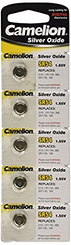 Camelion SR54 1.55 V Silver Oxide Button Cell Battery (Pack of 5)