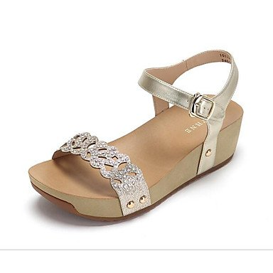 LvYuan Da donna Sandali Comoda PU (Poliuretano) Primavera Casual Comoda Oro Argento Piatto Silver