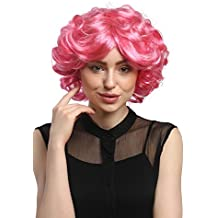 WIG ME UP ® - DEC31-PC28/41 Peluca señoras Cosplay Carnaval cortos rizos rosa pink voluminoso Popstar 80