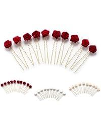 10 horquillas con rosas - accesorios para el cabello - para cabello plano - oro - Rojo Burdeos