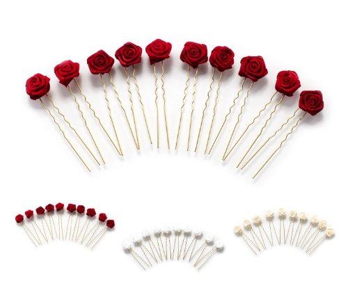 10 épingles à cheveux ornées de roses - accessoire pour coiffure plate/de mariée - Épingle à cheveux dorée - rouge bordeaux