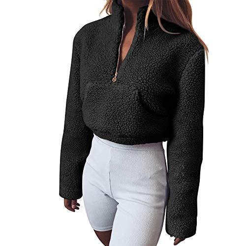 Decha Damen Herbst Winter Sweatshirt Teddy-Fleece Stehkragen Reißverschluss Pullover Jumper mit Große Tasche Crop Top Mantel Langarmshirt Warm -