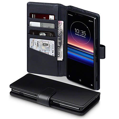 TERRAPIN, Kompatibel mit Sony Xperia 1 Hülle, [ECHT Leder] Brieftasche Case Tasche mit Standfunktion Kartenfächer & Bargeld - Schwarz EINWEG