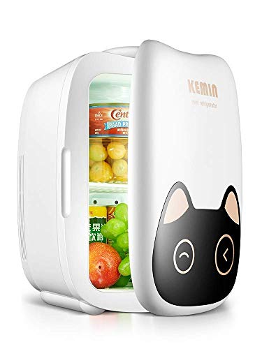 WJSW Mini refrigerador de 6 litros, Uso doméstico y para automóvil Mini refrigerador pequeños refrigeradores de Vino. 12V / 220V - Gato Lindo, Compacto