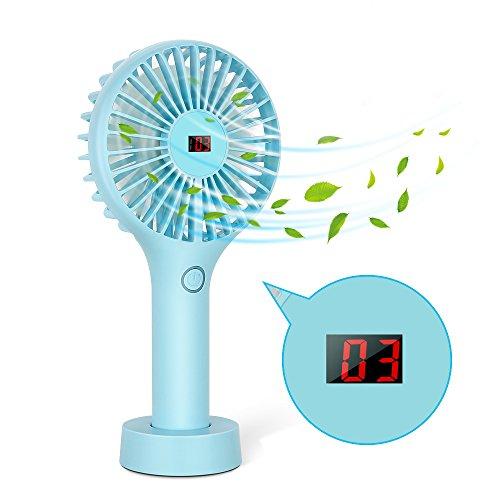 USB Mini Handventilator,Mopoin Ventilator Tragbarer Elektrischer Leise Ventilatoren Mini Lüfter Fan mit LCD Screen Display Electricity und Geschwindigkeitsstufen für Reisen und Zuhause (Blau)
