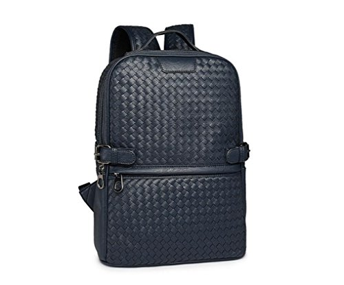 xibeitrade, Herren, geflochten, Leder-Rucksack Luxus-Mode Daypack dunkelblau