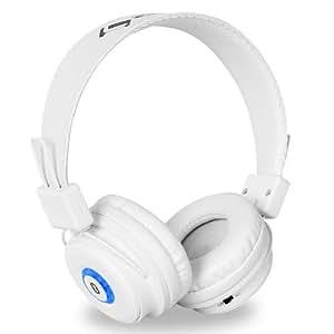 Auna DBT-1 Wireless Bluetooth Kopfhörer mit Mikrofon HiFi Musikwiedergabe/Telefonieren (18h Betriebsdauer, Reichweite 30m, 200h Standby, 2.1 + EDR) weiß