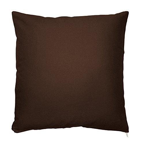 Kissenbezug Kissenhülle 100% Baumwolle mit Reißverschluss Zierkissen Kissen Bezug ca. 50x50 cm in Kaffee Braun Uni