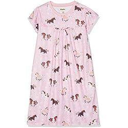 Hatley Girl's Short Sleeve Nighties Pyjama Sets, Pink (Frolicking Horses), Size:10 Years
