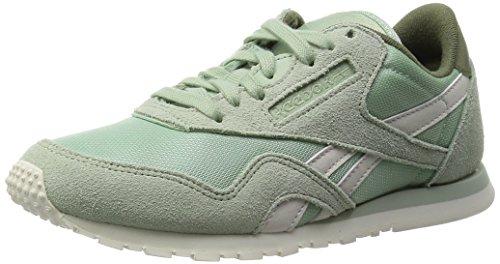 Reebok Damen CL Nylon Slim Core Laufschuhe, Grau/Grün/Weiß (Sage Mist/Canopy Green/Chalk), 39 EU (Nylon Weiße Schuhe)