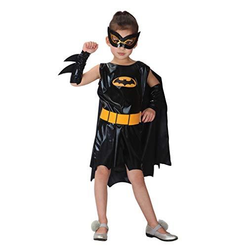 Batman Kostüm Der Halloween-Kinder Weibliches, Cosplay Anime-Kostüm-Mädchen-Tanz-Spiel-Leistungs-Kleidung (Farbe : SCHWARZ, größe : XL)