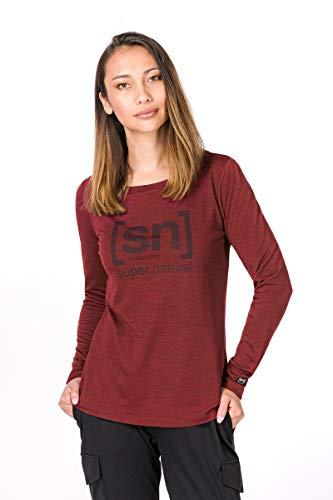 super.natural Bedrucktes Damen Langarm Shirt, Mit Merinowolle, W ESSENTIAL I.D LS, Größe: L, Farbe: Dunkelrot