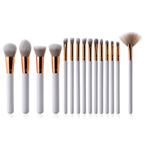 Fasloyu brosses 15 pcs Nouvelle arrivée Pro en bois Blanc Fond de teint Fard à paupières Contour des Yeux Lèvres Lot de pinceaux de maquillage