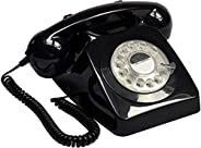 GPO Retro 746 ROTARY-BLACK Dial Retro Landline Telephone with Curly Cord and Authentic Bell Ring - Black